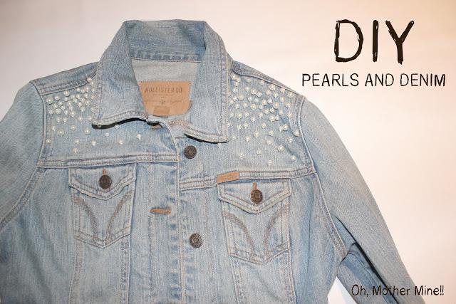 DIY Personalizar chaqueta denim con hombreras de perlas