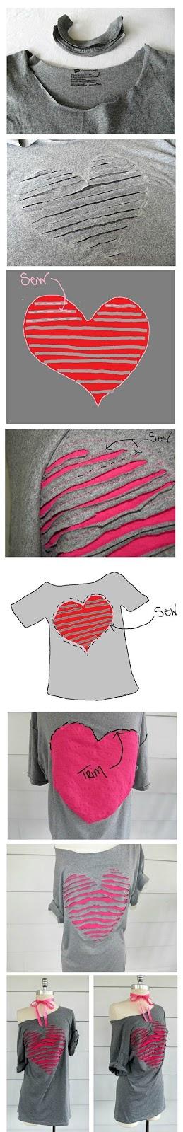 diy customizando camiseta con un corazón