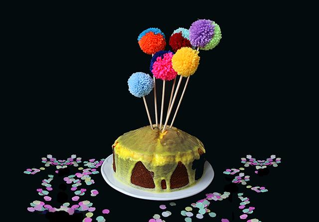 Final Image - Make Gorgeous Two-Tone Pom-Pom Cake Toppers