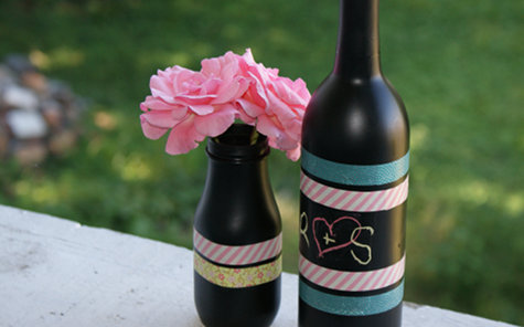 DIY Chalkboard Paint and Washi Tape Vases Craft Project