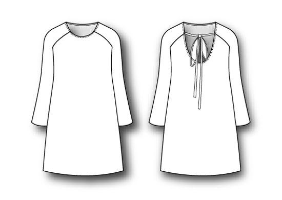 vestido manga ranglan