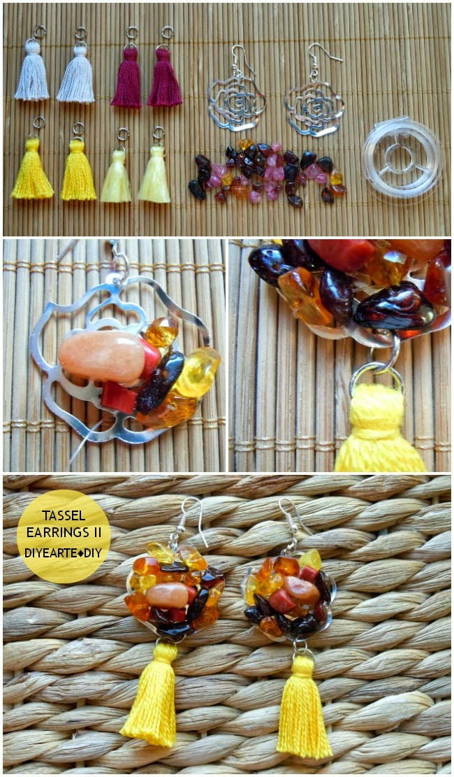tassel-earrings-jewelry-fashion-diy-yellow-handmade-homemade-pendientes-borlas-joyeria-diyearte