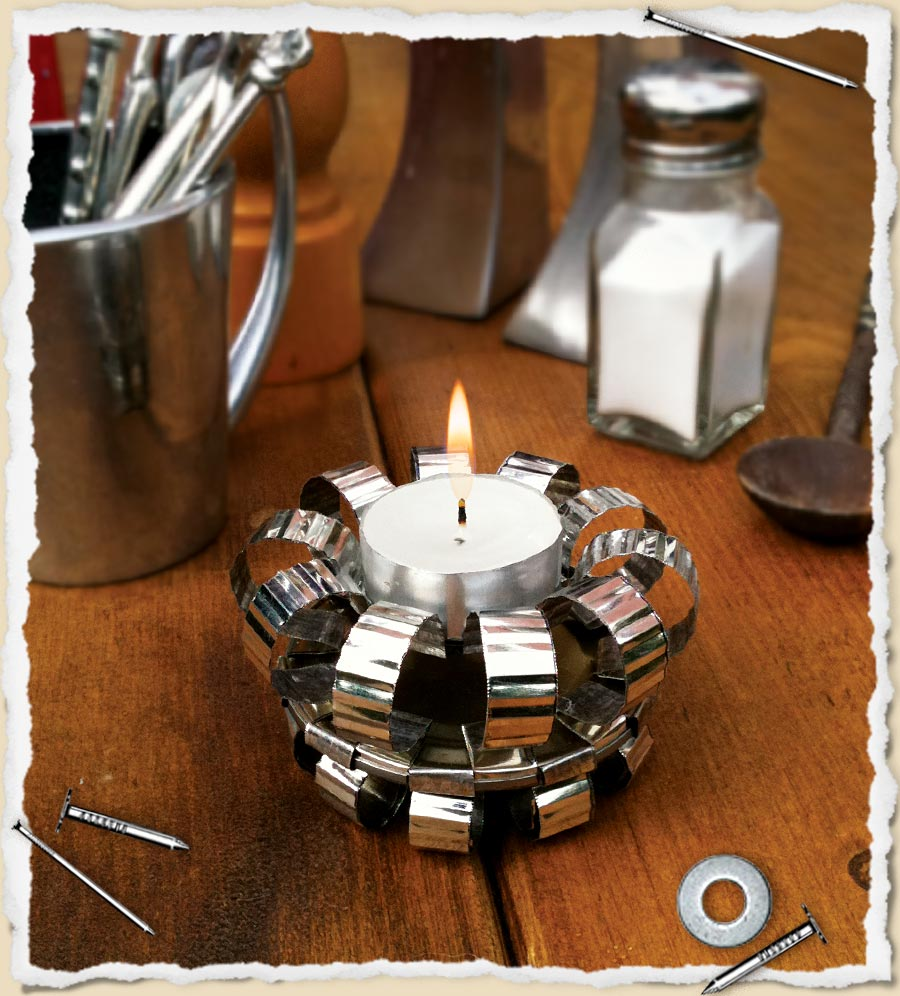 An elegant tin can tea light holder