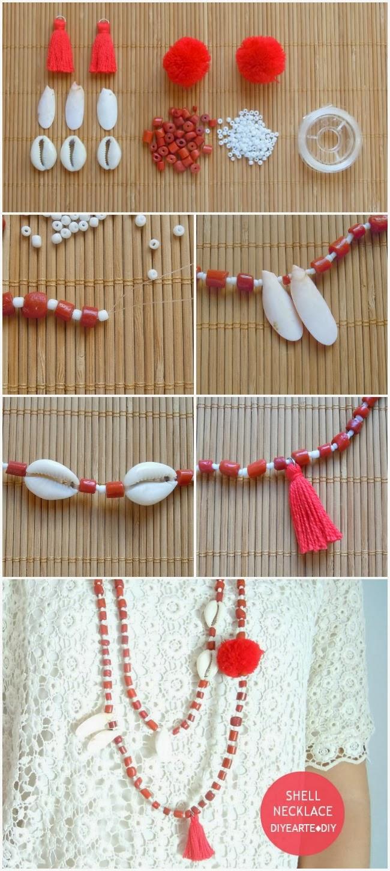 shell-fashion-necklace-diy-diyearte-tory-burch-collar-homemade-handmade-beads-navy-cuentas-pompom-pompon-tassel-borlas-conchas