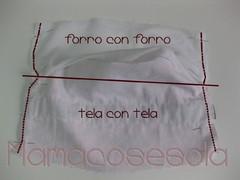 Cierra la braga uniendo los laterales de un extremo a otro, primero en el forro y después en la tela, con los derechos encarados