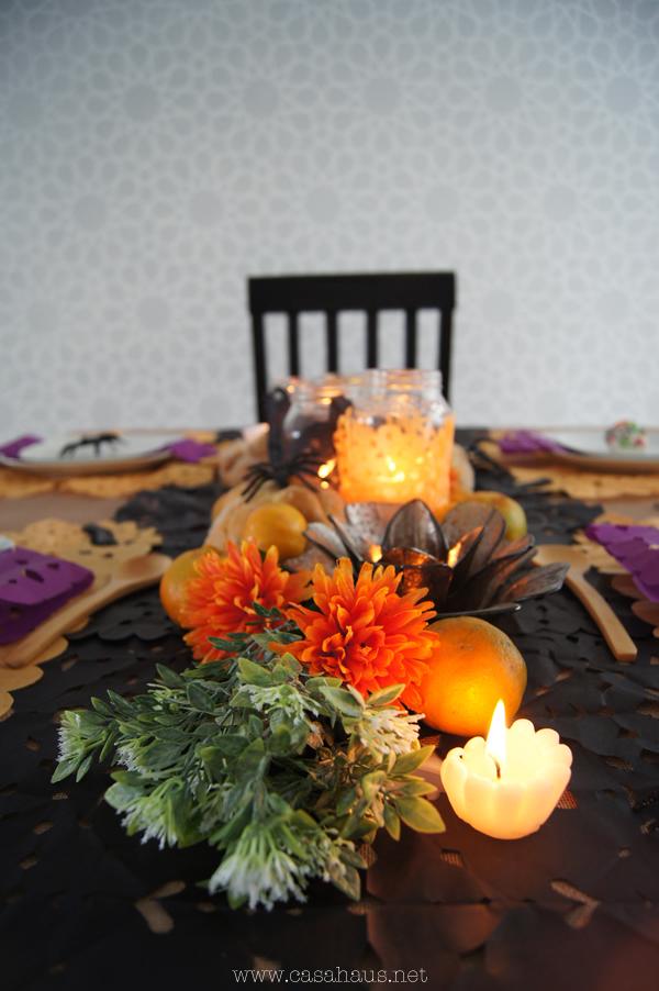 detalle camino mesa halloween / día de muertos