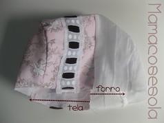 Igual que en el vestido, ten en cuenta en la tira de la capota, la vista que se añade en la tela y se reduce en el forro