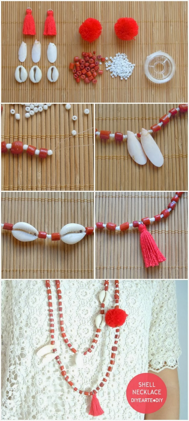 shell-fashion-necklace-diy-diyearte-tory-burch-collar-homemade-handmade-beads-navy-cuentas-pompom-pompon-tassel-borlas-conchas