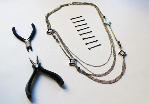 Plan B anna evers DIY Chain Hair pins materials