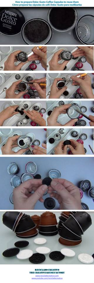 How to prepare Dolce Gusto coffee capsules - Cómo preparar las cápsulas de café Dolce Gusto Coffee, Capsules, Dolce Gusto, Café, Cápsulas, reciclado, recycled, recycling, upcycling