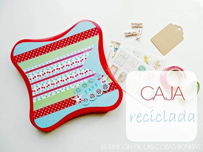 caja reciclada decorada con washitape