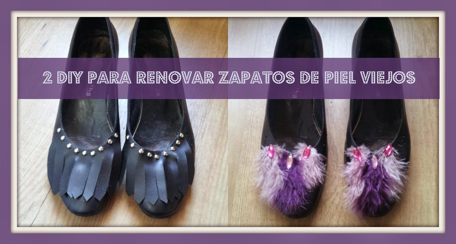 2 diferentes maneras de renovar unos zapatos de piel viejos con cuero y tachuelas o con plumas y abalorios de manera facil y barata