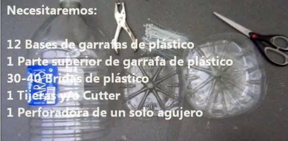 Material Necesario para realizar una lámpara reciclando garrafas de plástico pet