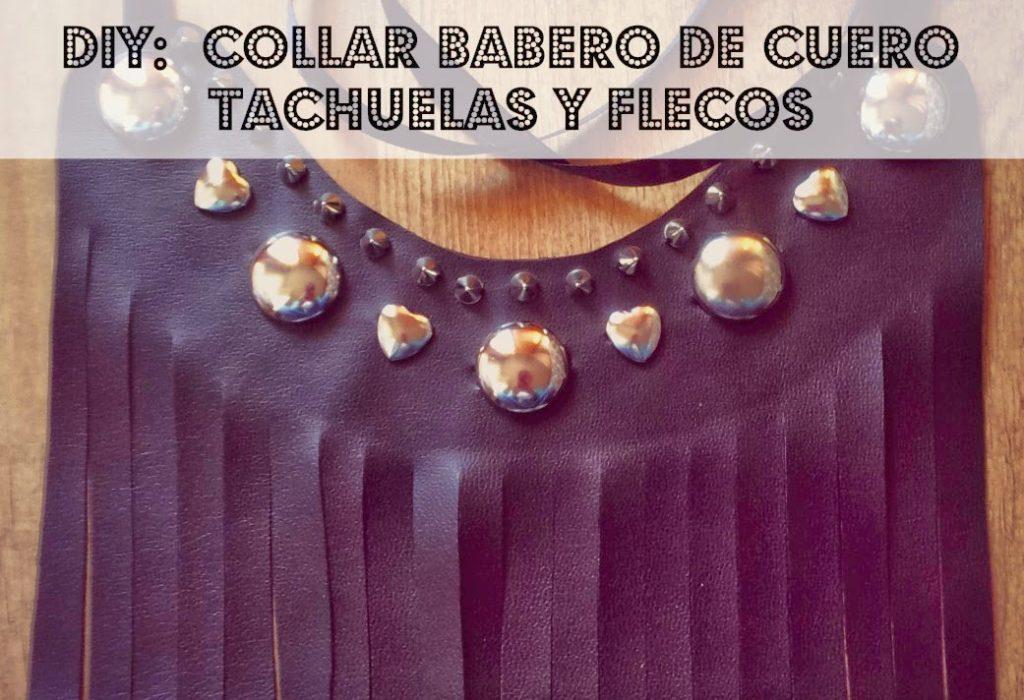 ba85042c6e35 Diy  Collar babero de cuero y flecos con tachuelas (Patrón gratis) ...