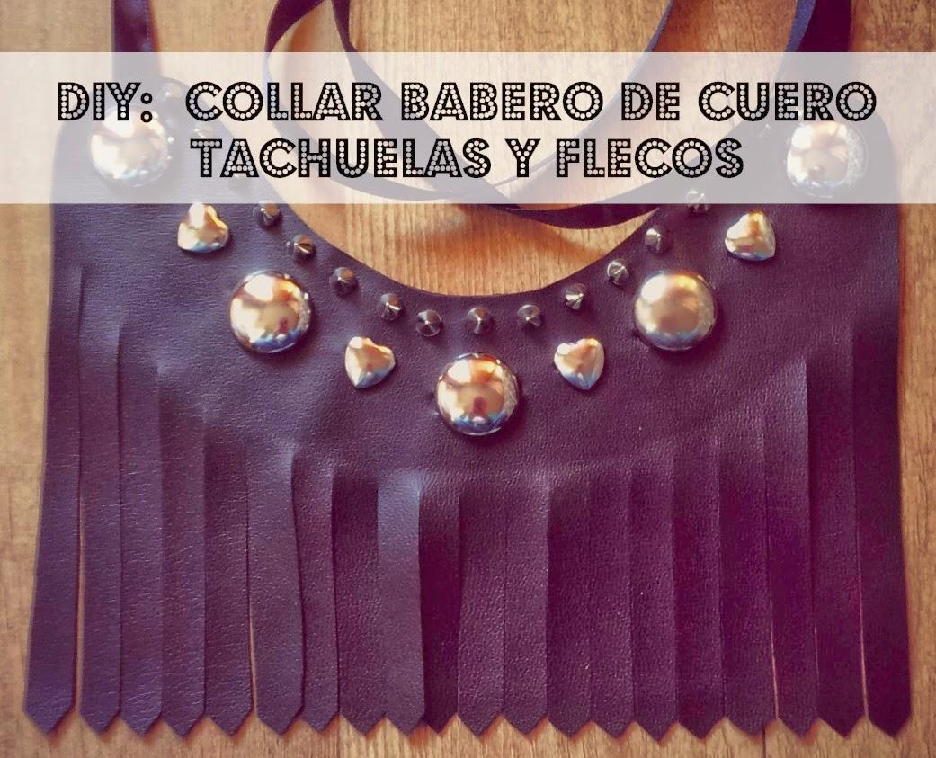 haz tu misma un collar babero de cuero con flecos y tachuelas facil y sencillo a conjunto con los zapatos.