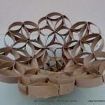 Florero – Frutero realizado con tubos de rollo de papel higiénico