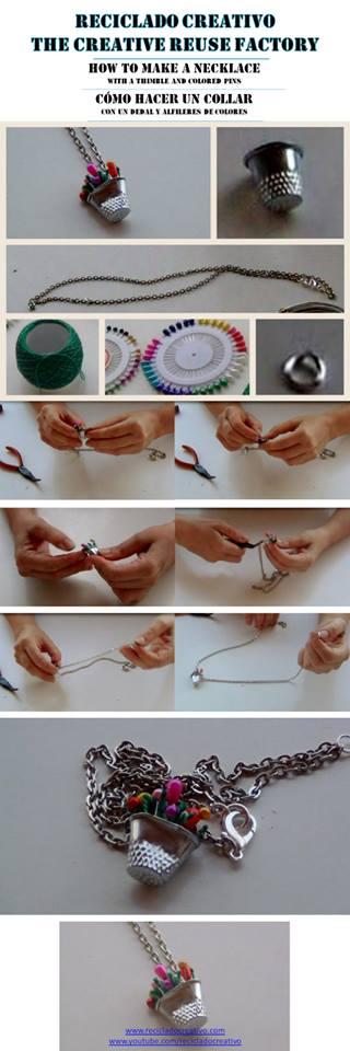 Colgante realizado con un dedal y alfileres de colores