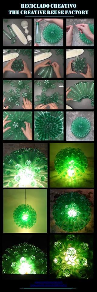 Cómo realizar una lámpara reciclando 125 botellas de plástico. How to make a lamp recycling 125 plastic bottles. pet. Rosa Montesa. Reciclado Creativo