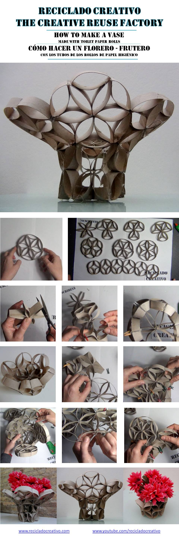Infografía cómo hacer un florero con rollos de papel higiénico