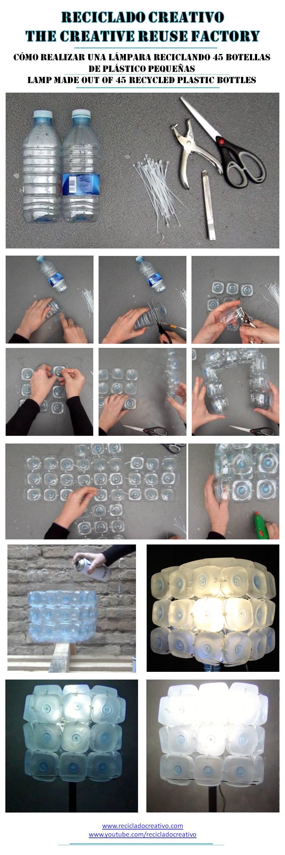 Lámpara realiza reciclando 45 bases de botellas de plástico - Lamp made with 45 recycled plastic bottles - Reciclado Creativo - Rosa Montesa