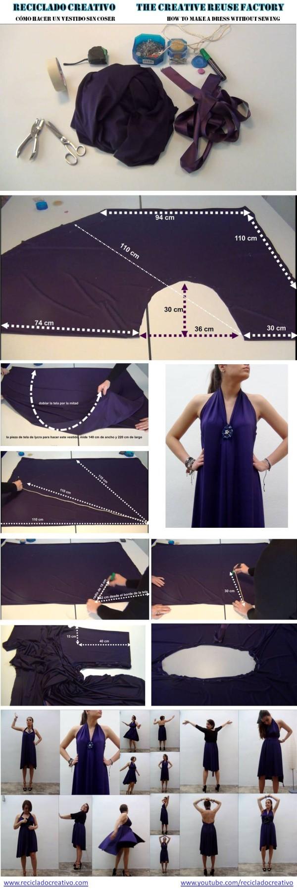 Cómo hacer un vestido sin dar una sola puntada. How to make a dress without sewing - Rosa Montesa