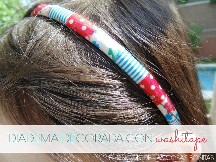 diadema decorada con washitape