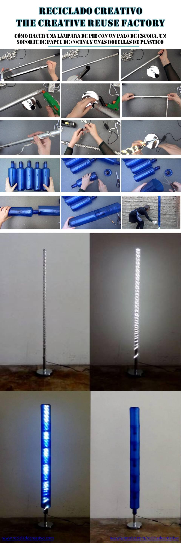 Infographic lámpara botellas azules con palo de escoba y soporte de papel de cocina