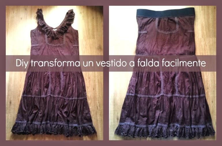 recicla tu vestido viejo y conviertelo en falda en 10 minutos facilmente.