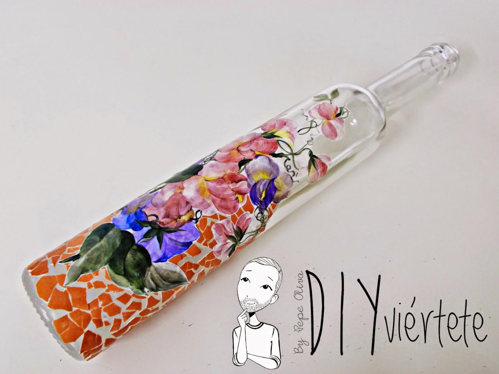 DIY-ideas decoración-reciclaje-diogeneras-botella-cristal-vidrio-cáscaras de huevo-decoupage-1