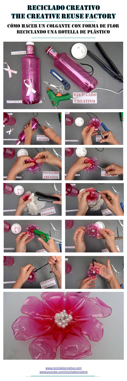 Cómo realizar un colgante con forma de flor reciclando una botella @gotasdesolidaridad de Solan de Cabras. RecicladoCreativo RosaMontesa