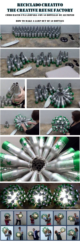 Lámpara realizada con 50 botellas de cerveza. #yotambienquierouna Reciclado Creativo. Rosa Montesa