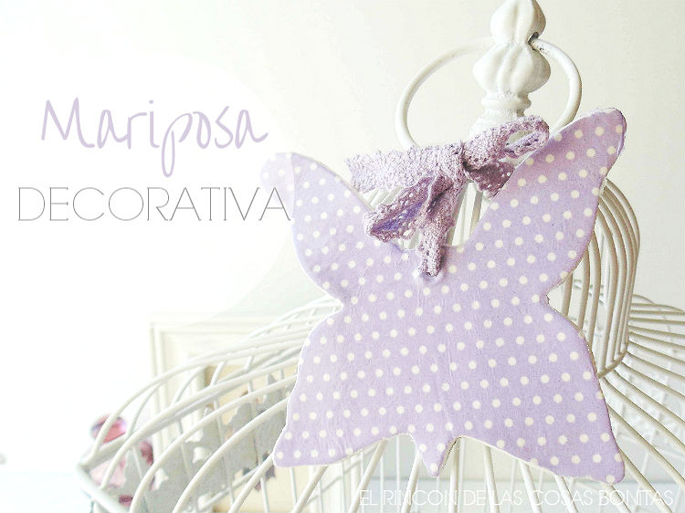 mariposa decorativa de pasta de modelar y decoupage