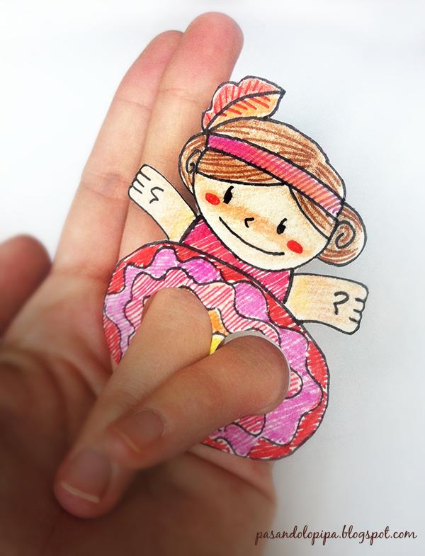 pasandolopipa | marioneta de dedos con forma de bailarina de can can