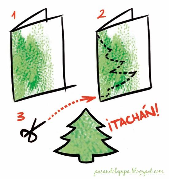 pasos para felicitación navideña o christmas, recortar abeto   pasandolopipa
