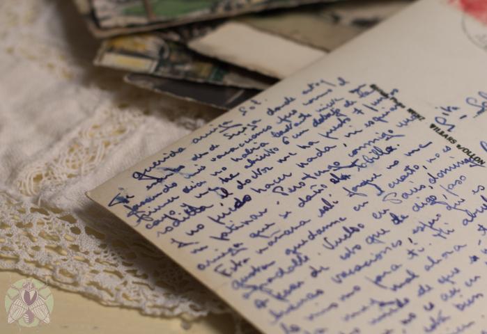 postal escrita a pluma