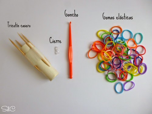 DIY pulseras gomas elasticas tricotín rainbow loom