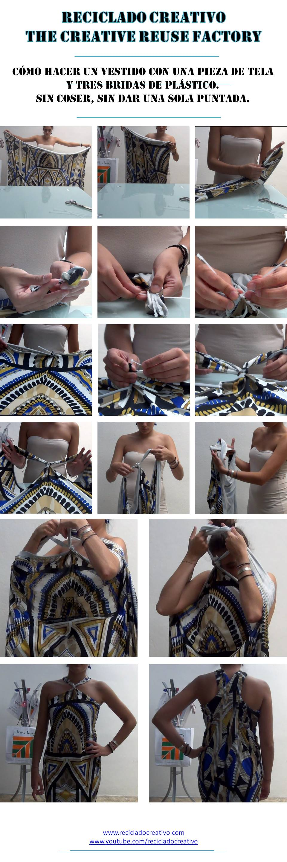 Còmo hacer un vestido con una pieza de tela y 3 bridas de plástico