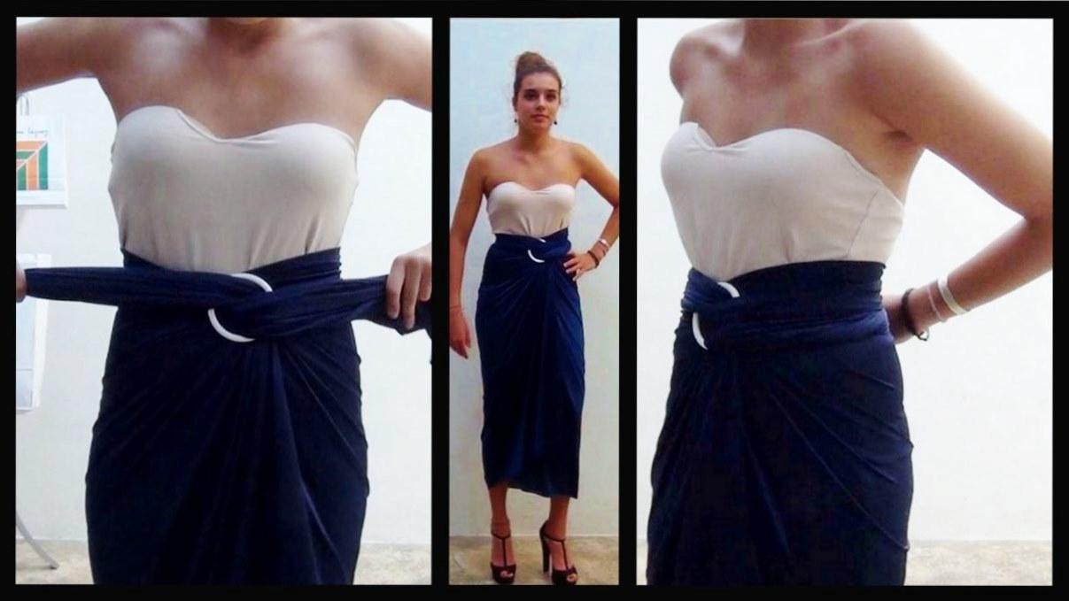 Cómo realizar una falda drapeada sin coser - How to make a skirt free sewing