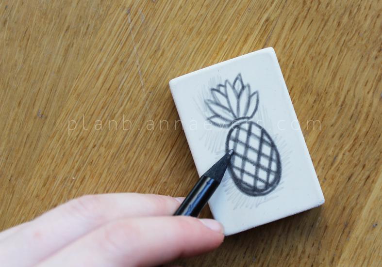 Plan B anna evers DIY Pineapple stamp step 1