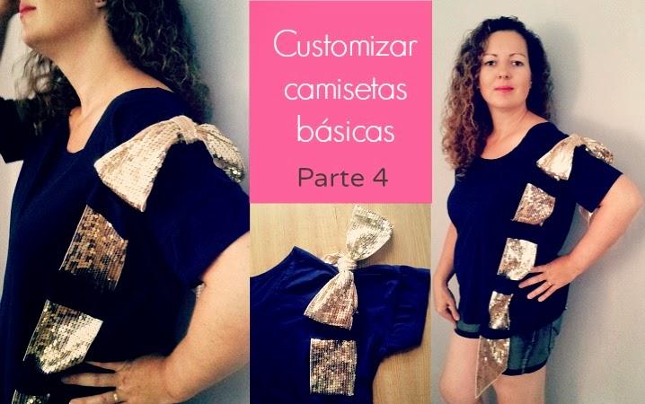Tutorial para customizar una camiseta básica con una cinta de lazo de raso,lentejuelas,retal etc...