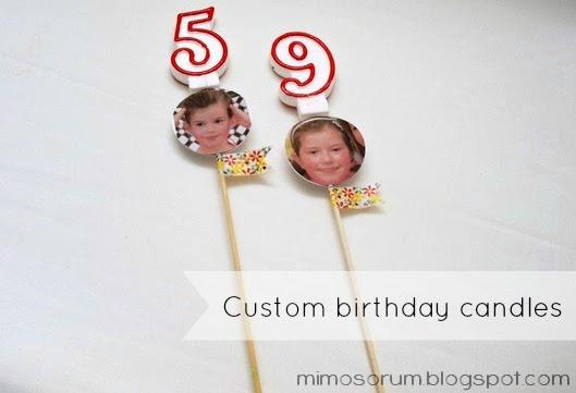 Velas de cumpleaños personalizadas.