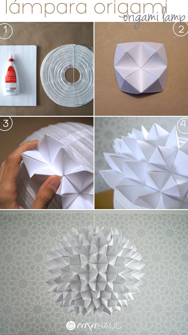 Pasos para lámpara de origami / Origami pendant steps / Casa Haus