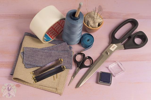 materiales cartera de tela pángala