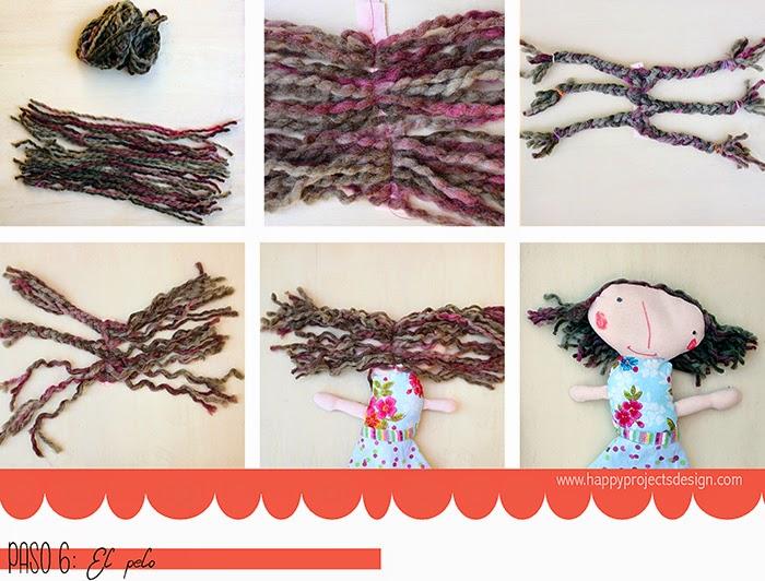 DIY muñeca de tela: el pelo