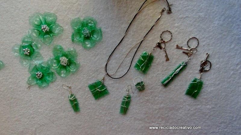 reciclado botellas verdes llaveros , flores, colgantes, bisutería