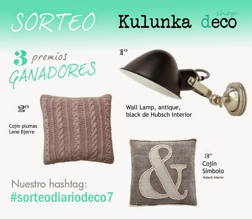 Sorteo Diariodeco7 con Kulunka: 3 premios, 3 ganadores