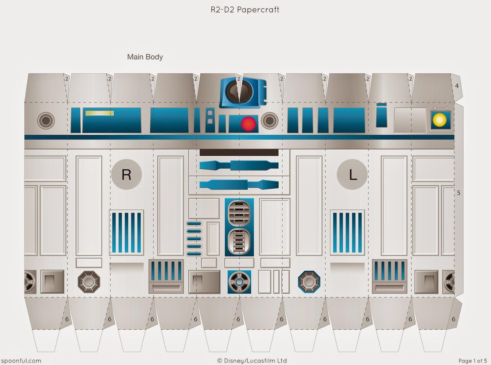 Descargable imprimible de R2-D2 de la saga de Star Wars para maqueta 3d-2
