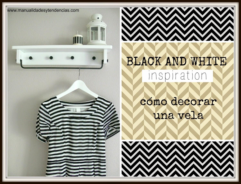 cómo decorar una vela en blanco y negro