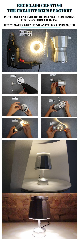 Infographic lámpara con una cafetera italiana y leds