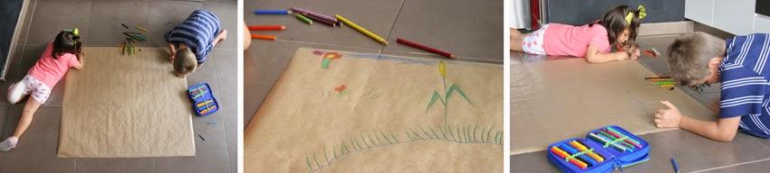 Pintando el lago para el juego de pesca handmade en papel kraft2